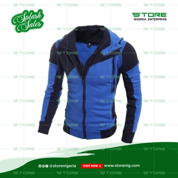 Blue Men Double Zipper Jacket